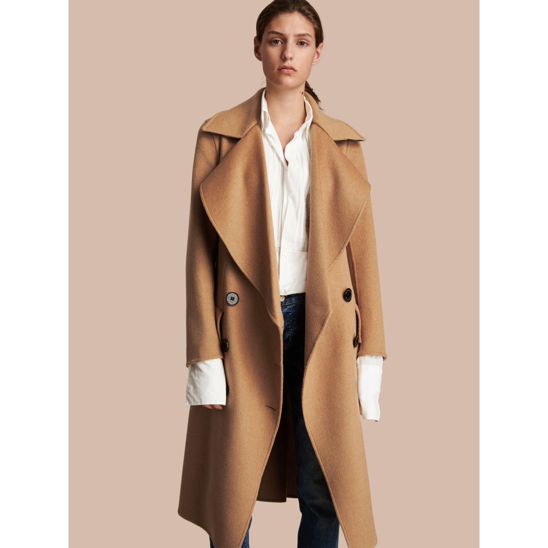 Draped Front Camel Hair and Wool Tailored Coat - Women | Burberry - gallery image 7