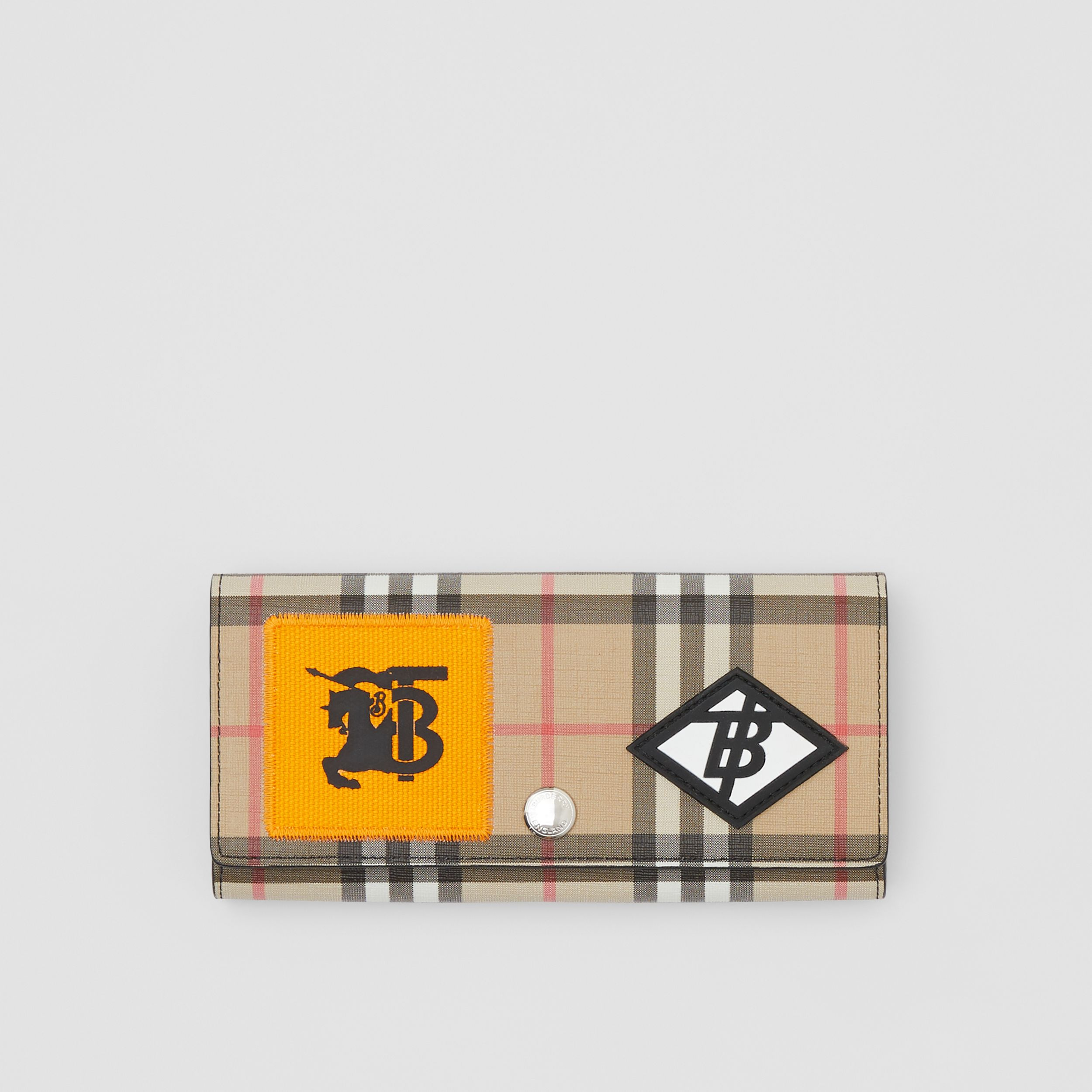 Logo Graphic Vintage Check E-canvas Continental Wallet in Archive Beige - Women | Burberry - 1