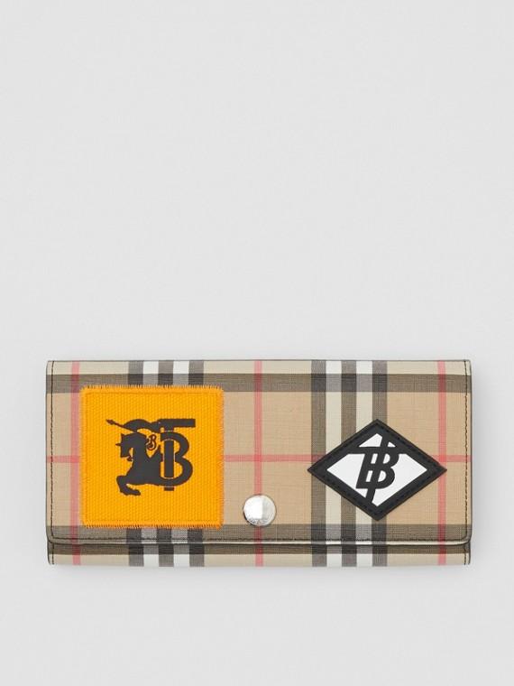 Carteira continental de lona ecológica em Vintage Check com logotipo gráfico (Bege)