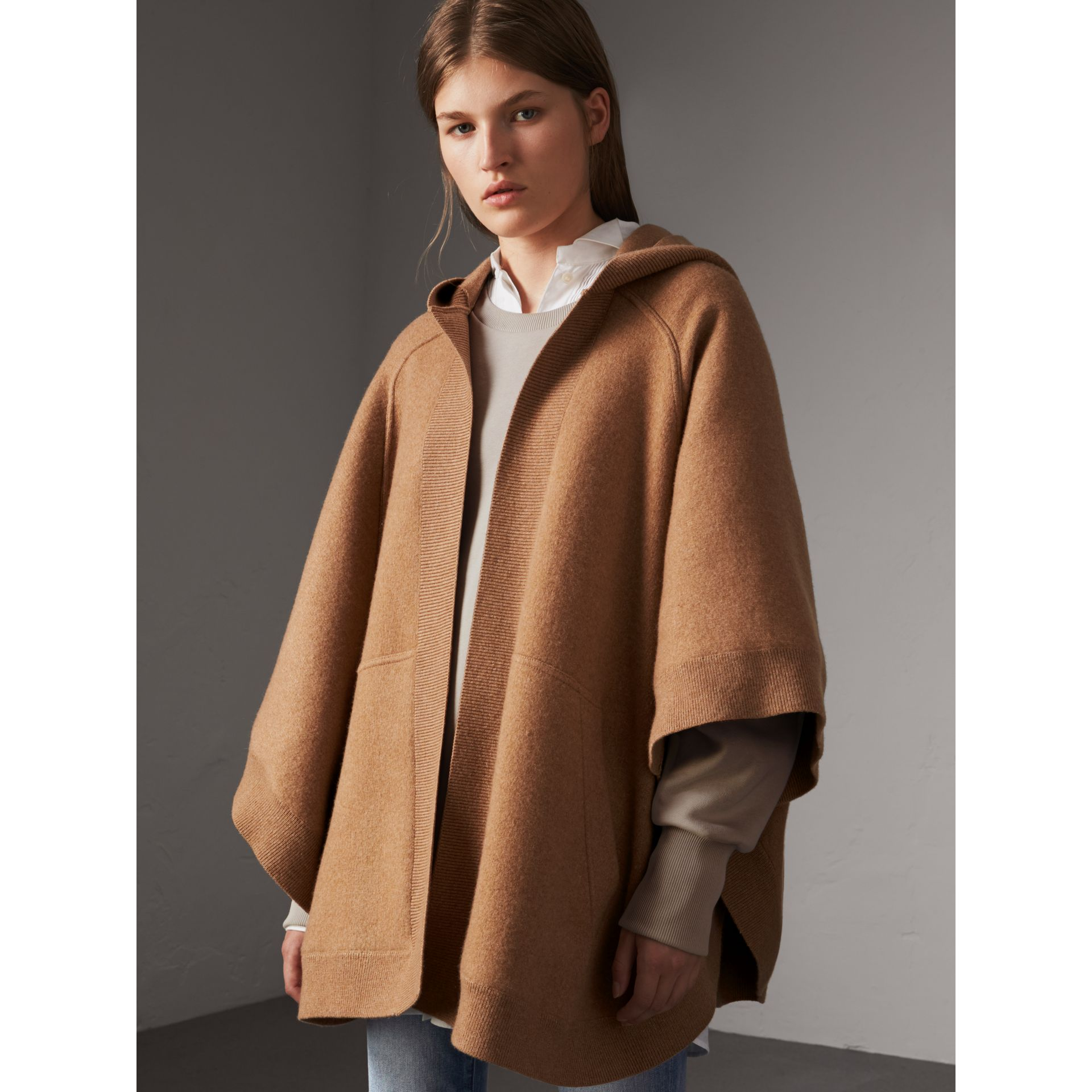 Wool Cashmere Blend Hooded Poncho in Camel - Women | Burberry - gallery image 4