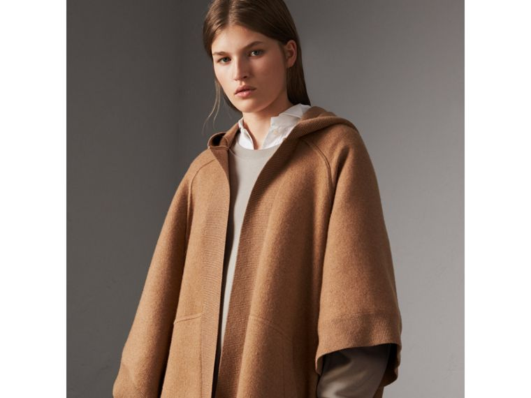 Wool Cashmere Blend Hooded Poncho in Camel - Women | Burberry - cell image 4