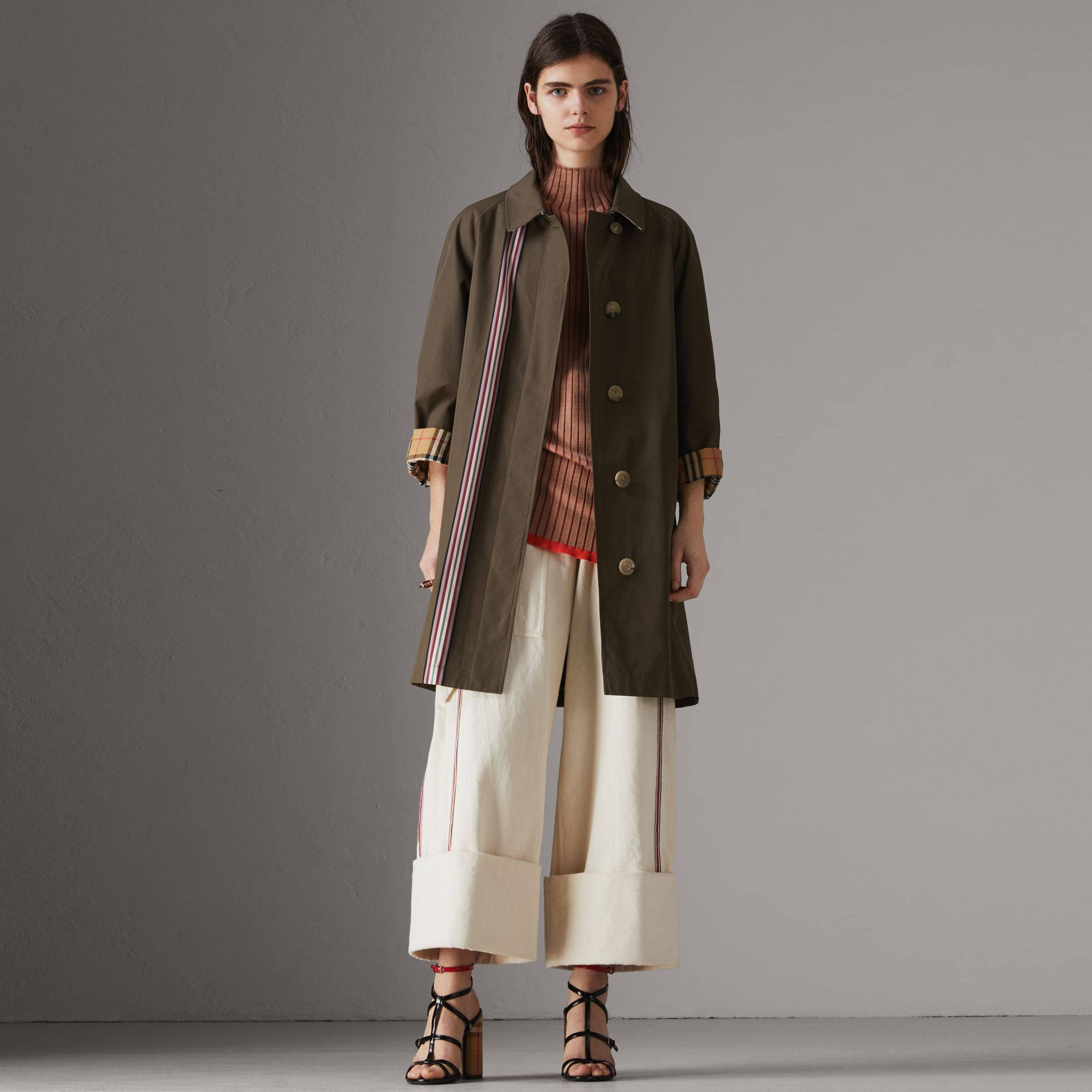 Striped Ribbon Cotton Gabardine Car Coat in Olive - Women | Burberry - gallery image 0