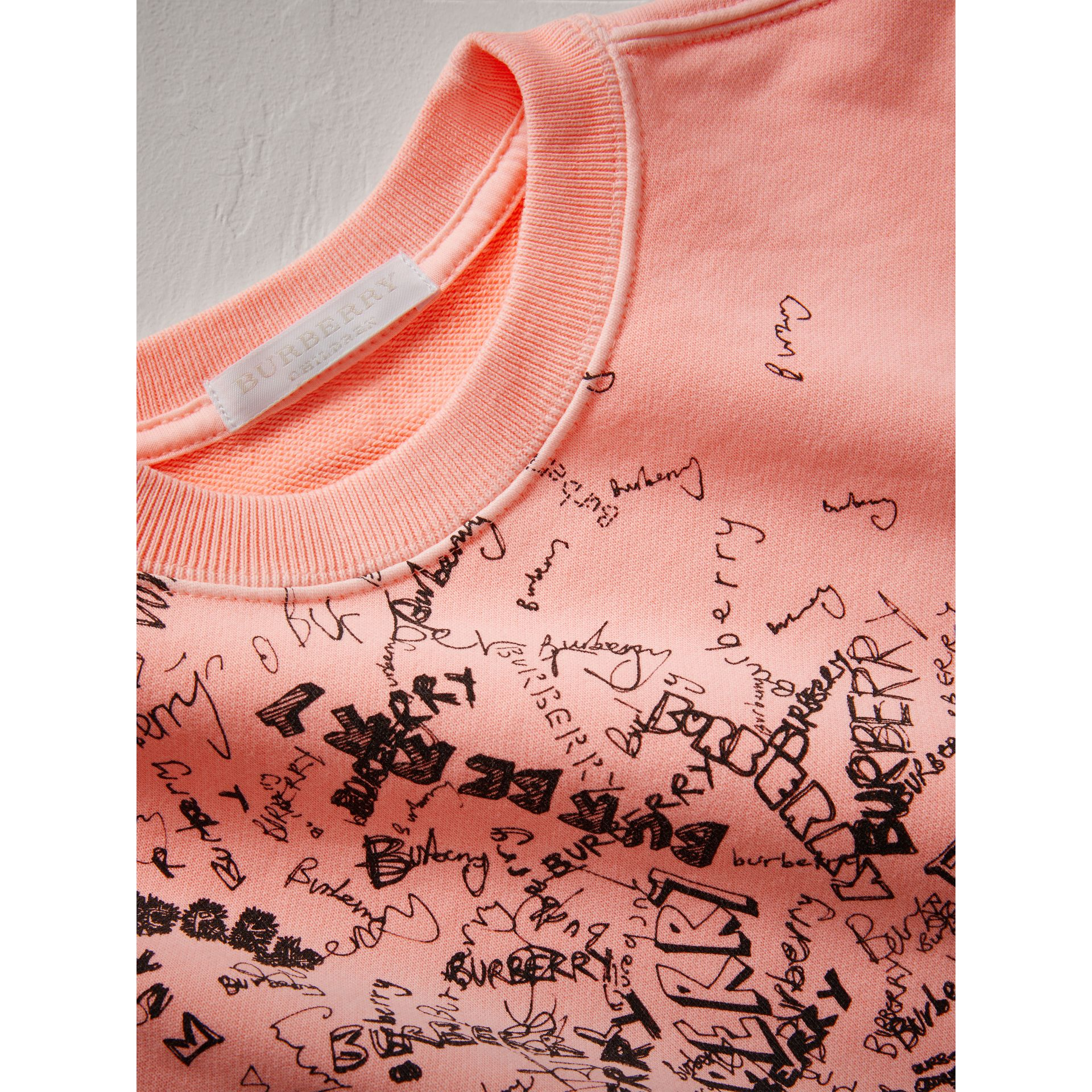 Doodle Print Cotton Sweatshirt in Bright Clementine | Burberry - gallery image 1