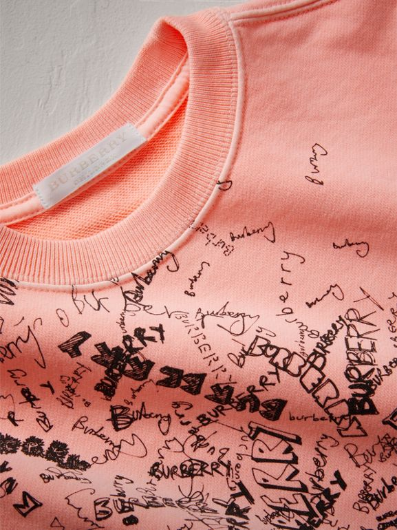 Doodle Print Cotton Sweatshirt in Bright Clementine - Children | Burberry - cell image 1