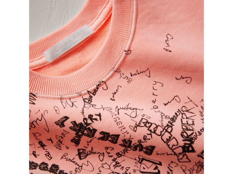 Doodle Print Cotton Sweatshirt in Bright Clementine | Burberry - cell image 1