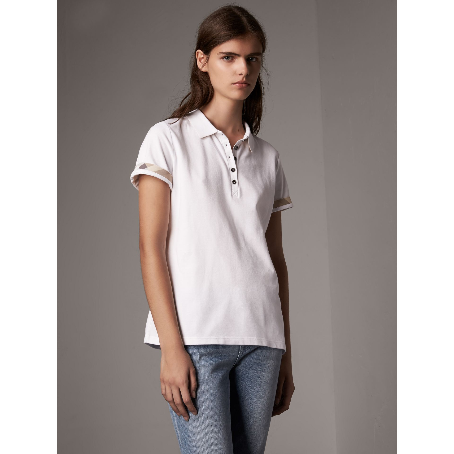 Check Trim Stretch Cotton Piqué Polo Shirt in White - Women | Burberry - gallery image 1