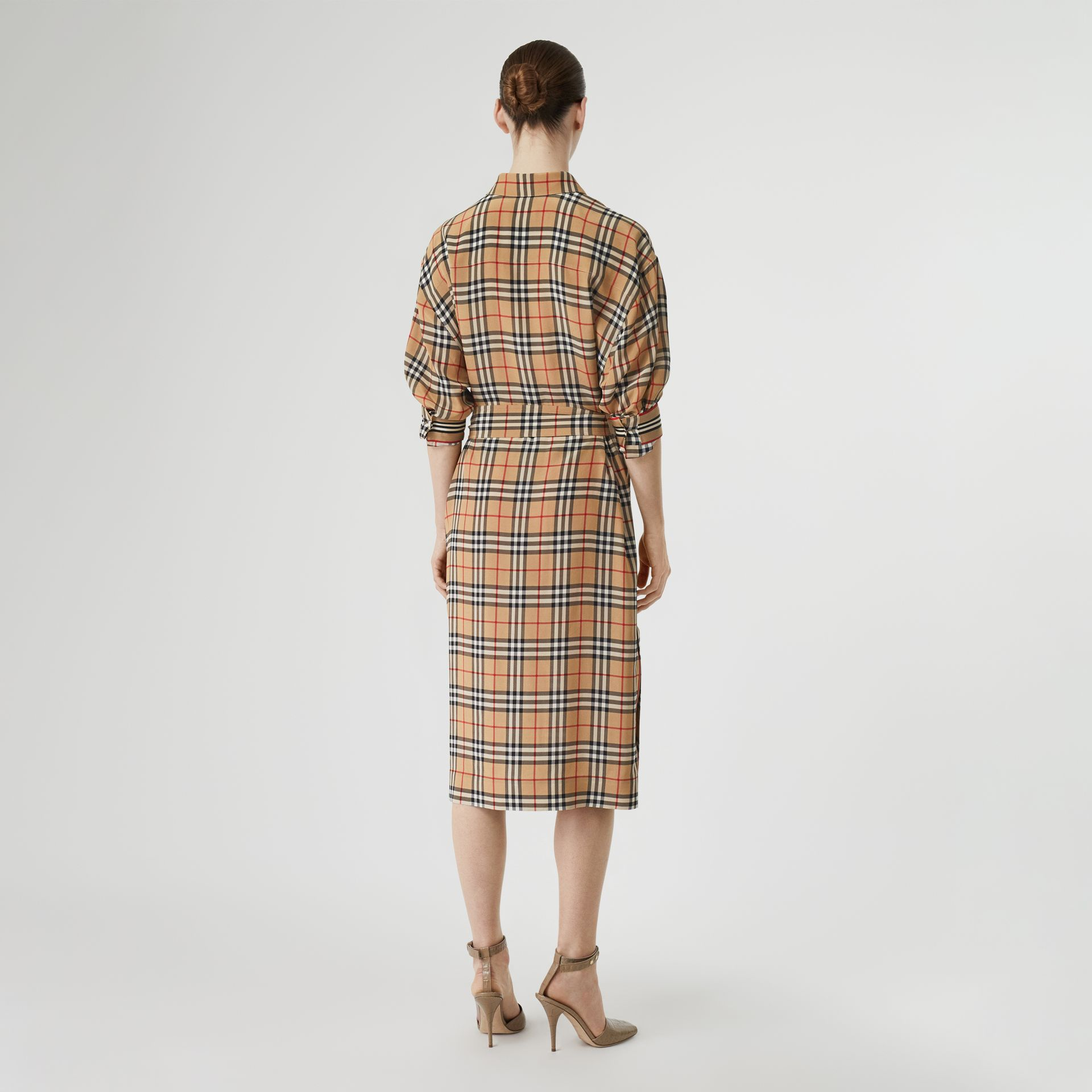 Vintage Check Silk Tie-Waist Shirt Dress in Archive Beige - Women | Burberry - gallery image 2