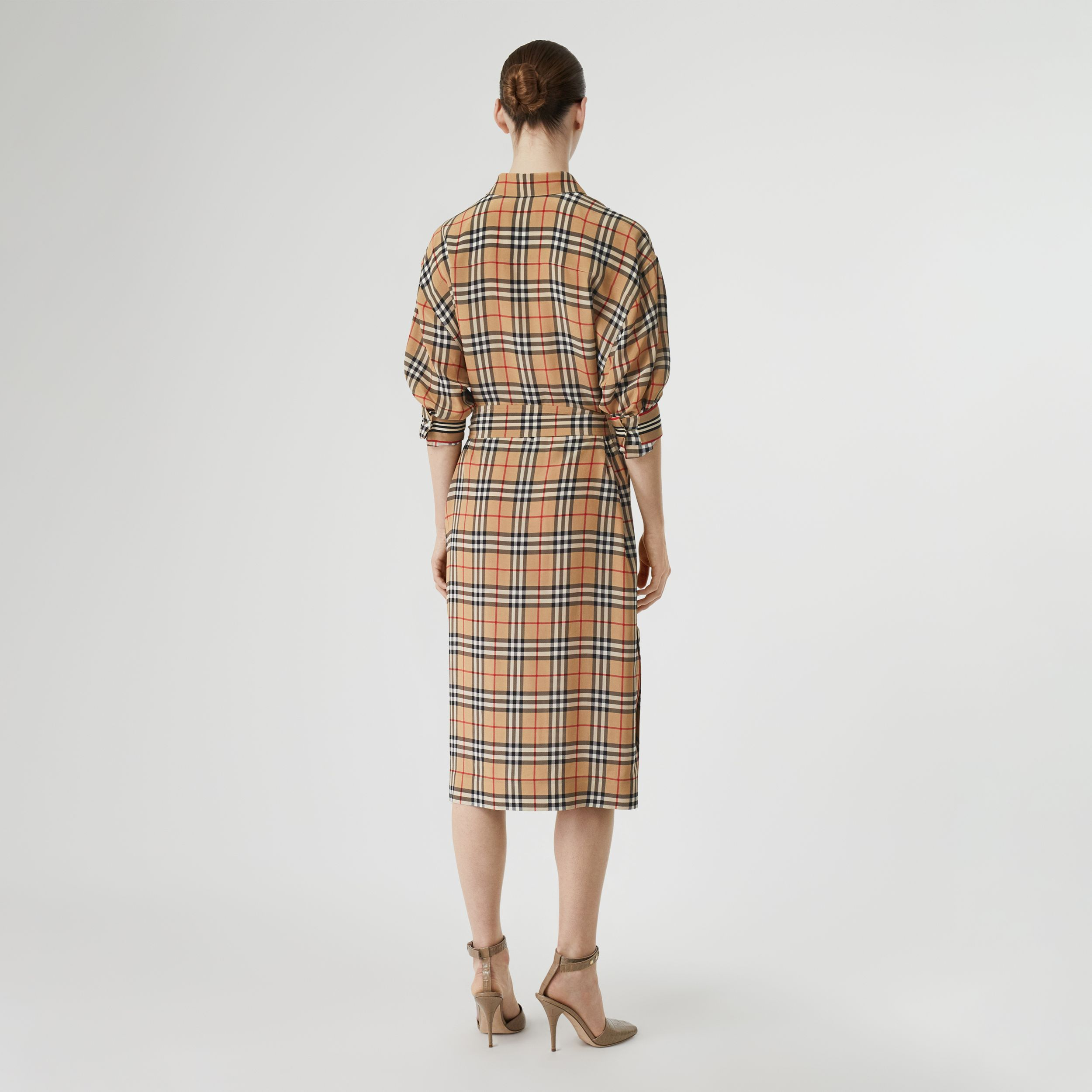 Vintage Check Silk Tie-Waist Shirt Dress in Archive Beige - Women | Burberry - 3