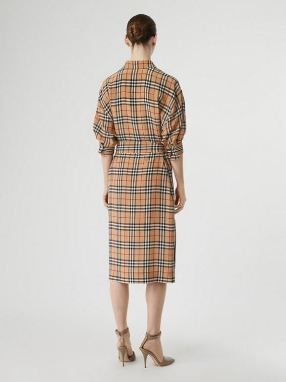 Vintage Check Silk Tie-Waist Shirt Dress in Archive Beige - Women | Burberry - cell image 1