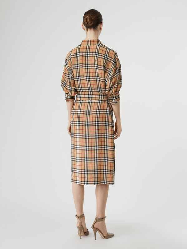 Vintage Check Silk Tie-Waist Shirt Dress in Archive Beige - Women | Burberry Canada - cell image 2