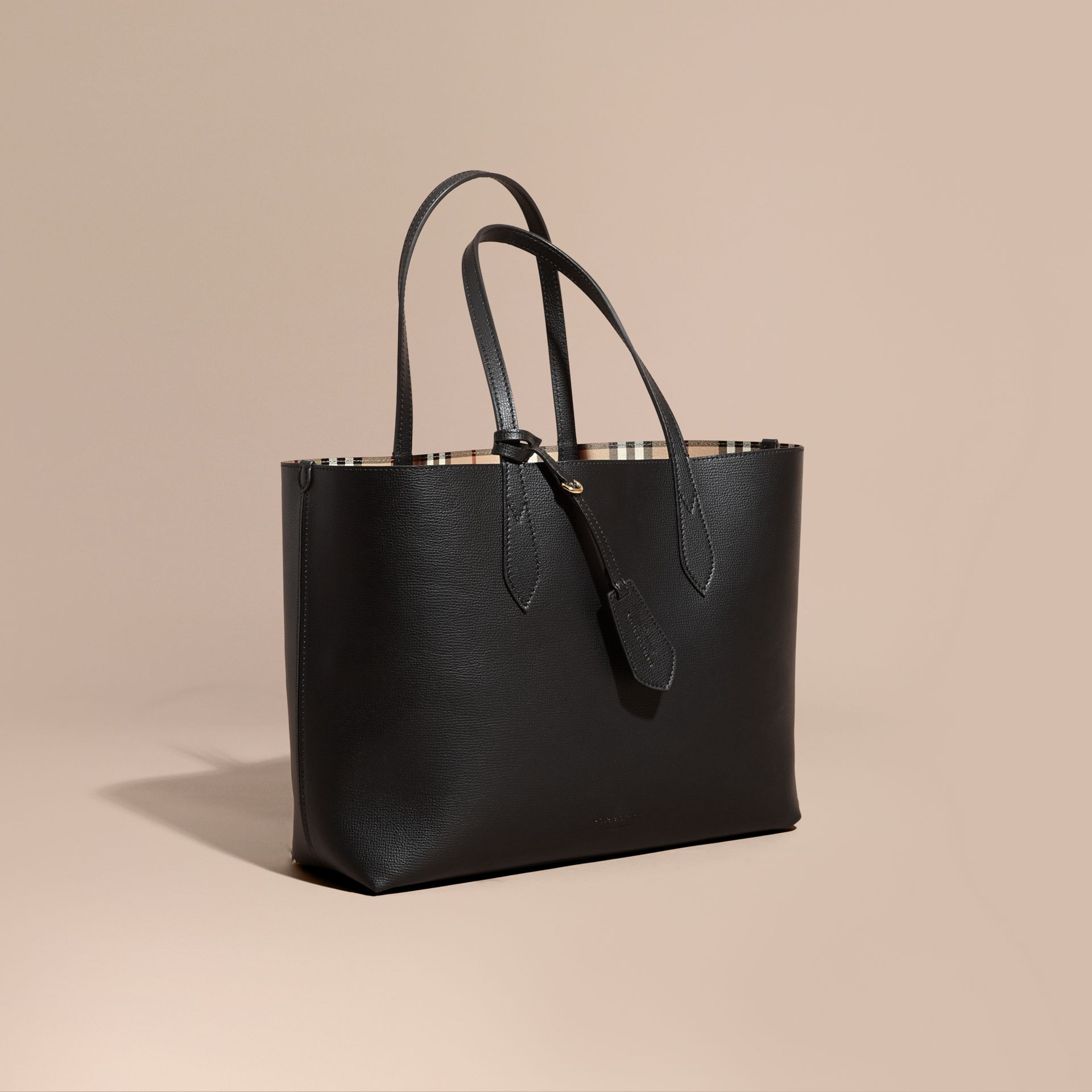 The Medium Reversible Tote in Haymarket Check and Leather in Black - Women | Burberry - gallery image 1