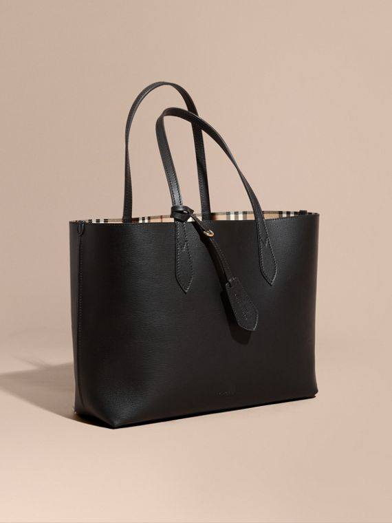 The Medium Reversible Tote in Haymarket Check and Leather in Black