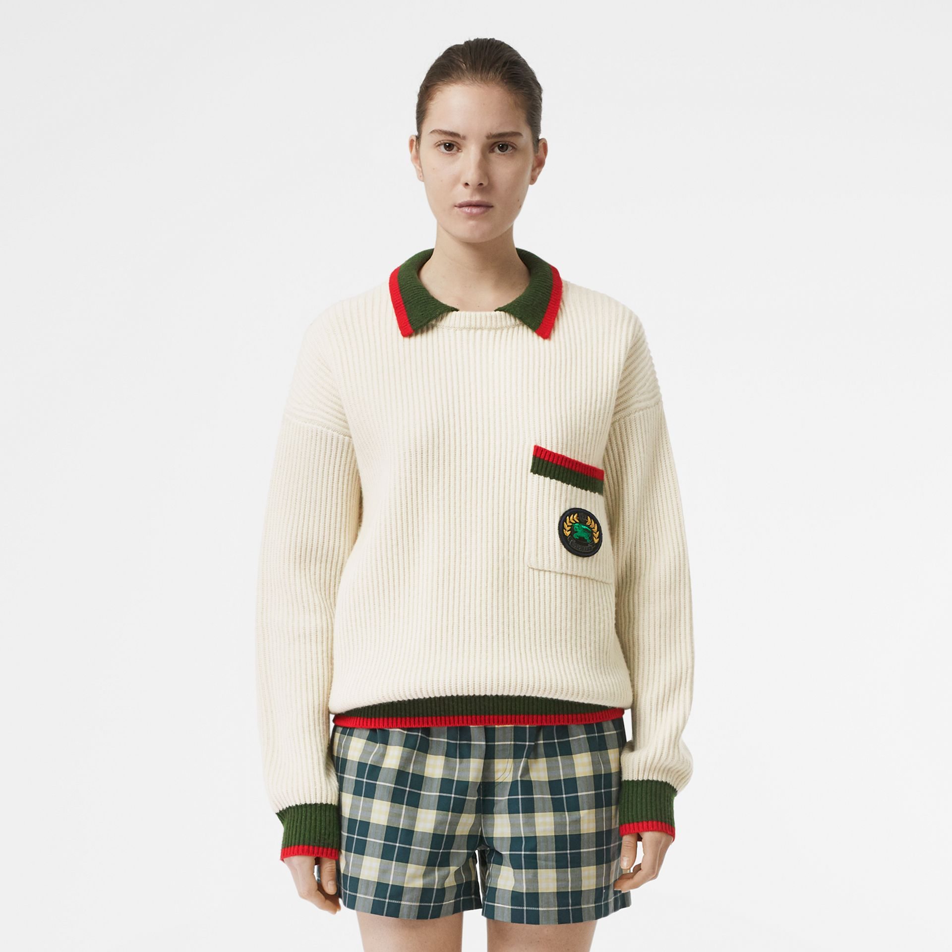 Rib Knit Wool Cashmere Sweater in Ivory - Women | Burberry - gallery image 5
