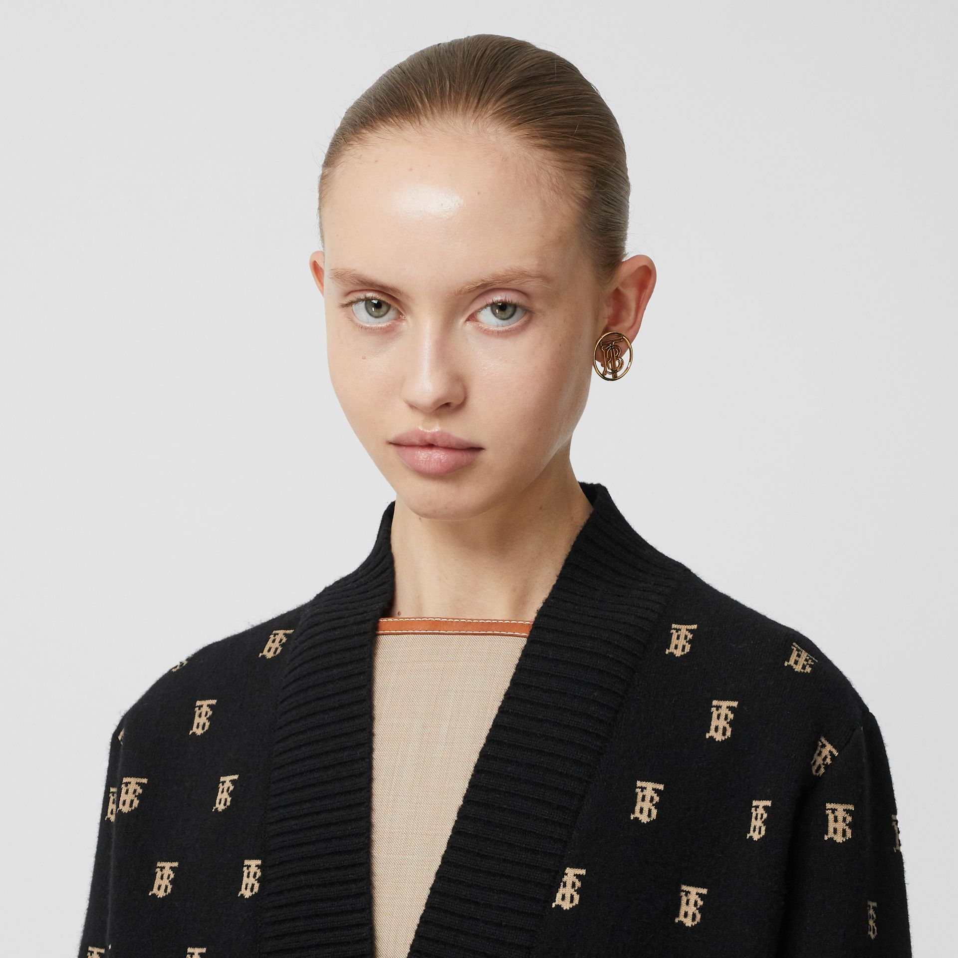 Monogram Wool Cashmere Blend Oversized Cardigan in Black - Women | Burberry - gallery image 1