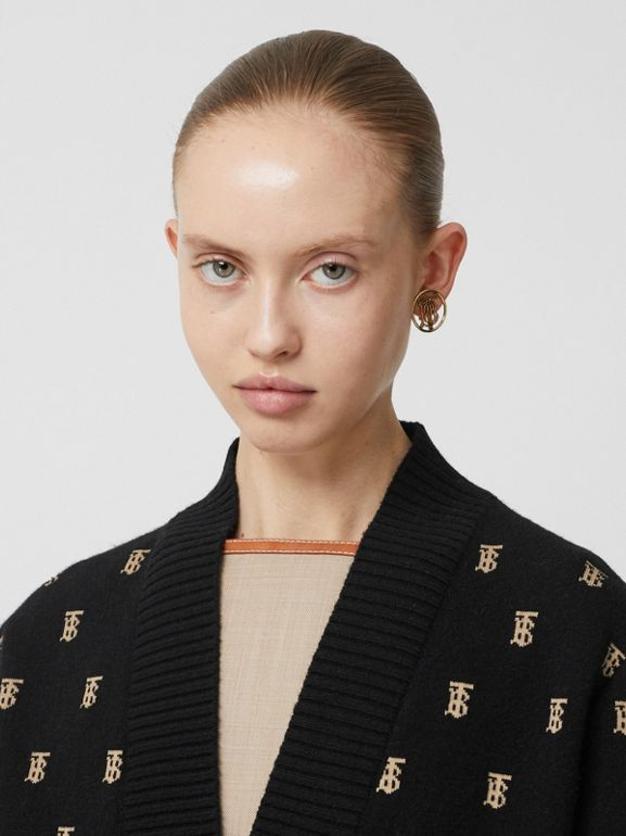 Monogram Wool Cashmere Blend Oversized Cardigan in Black - Women | Burberry - cell image 1
