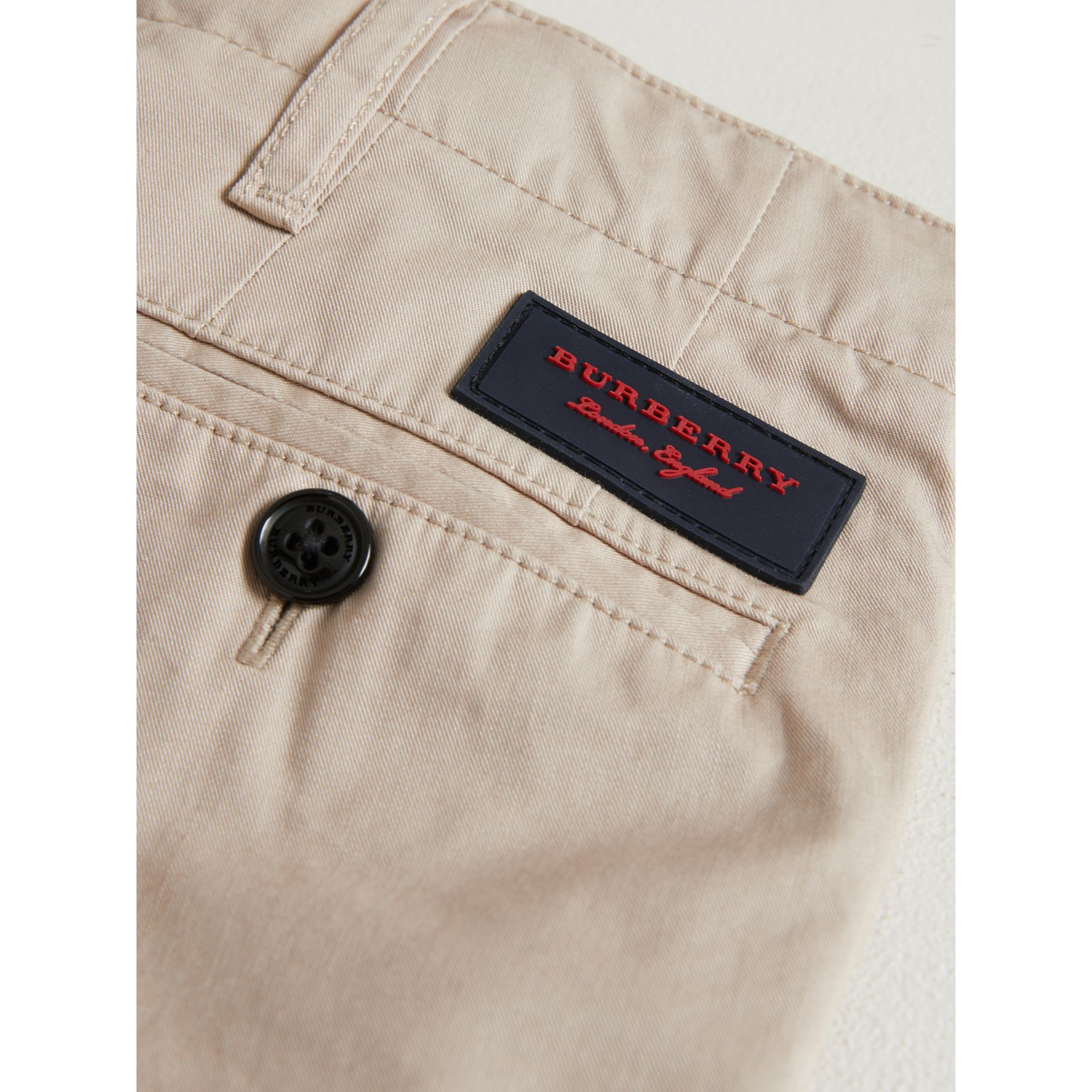 Cotton Chinos in Grey Stone | Burberry - gallery image 1