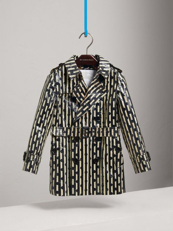 Laminated Spot and Stripe Print Trench Coat in Navy