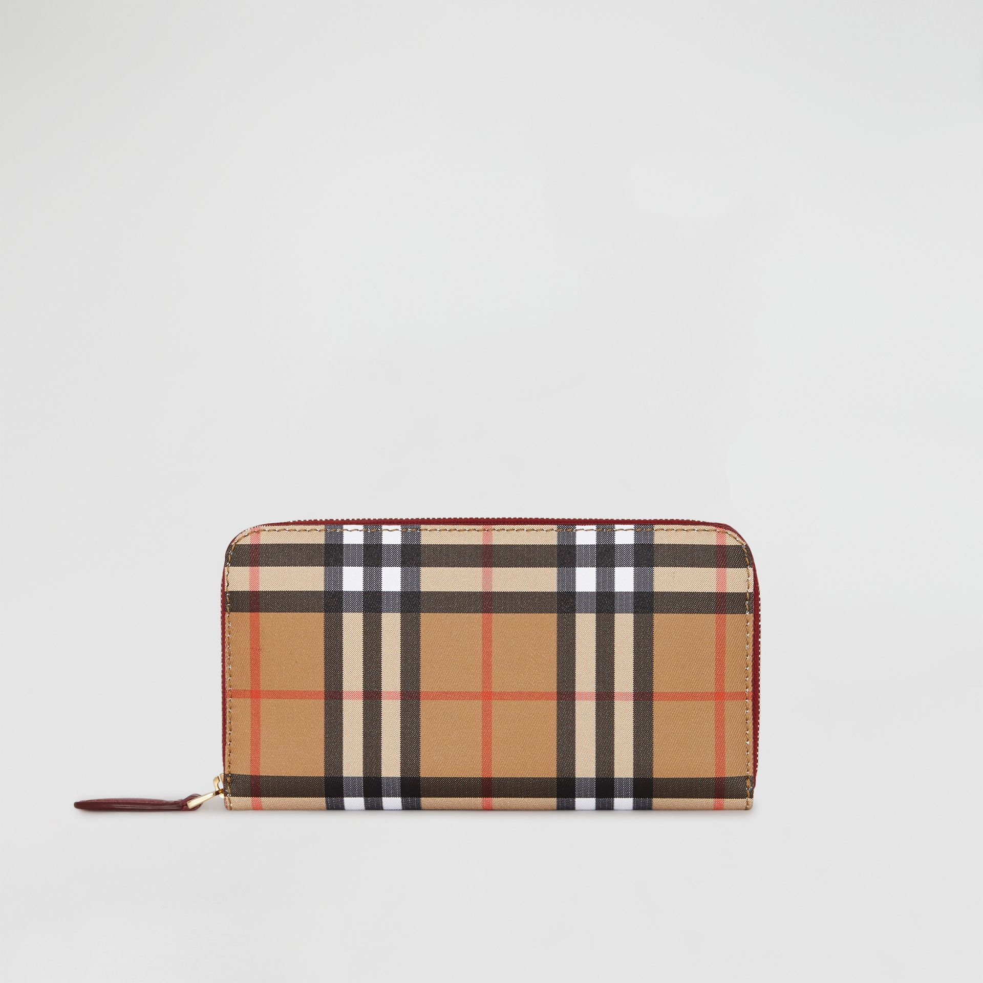 Vintage Check and Leather Ziparound Wallet in Crimson - Women | Burberry Canada - gallery image 2