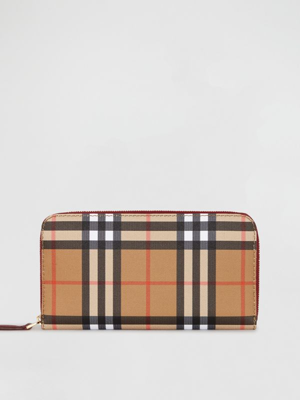 Vintage Check and Leather Ziparound Wallet in Crimson - Women | Burberry Hong Kong S.A.R - cell image 2