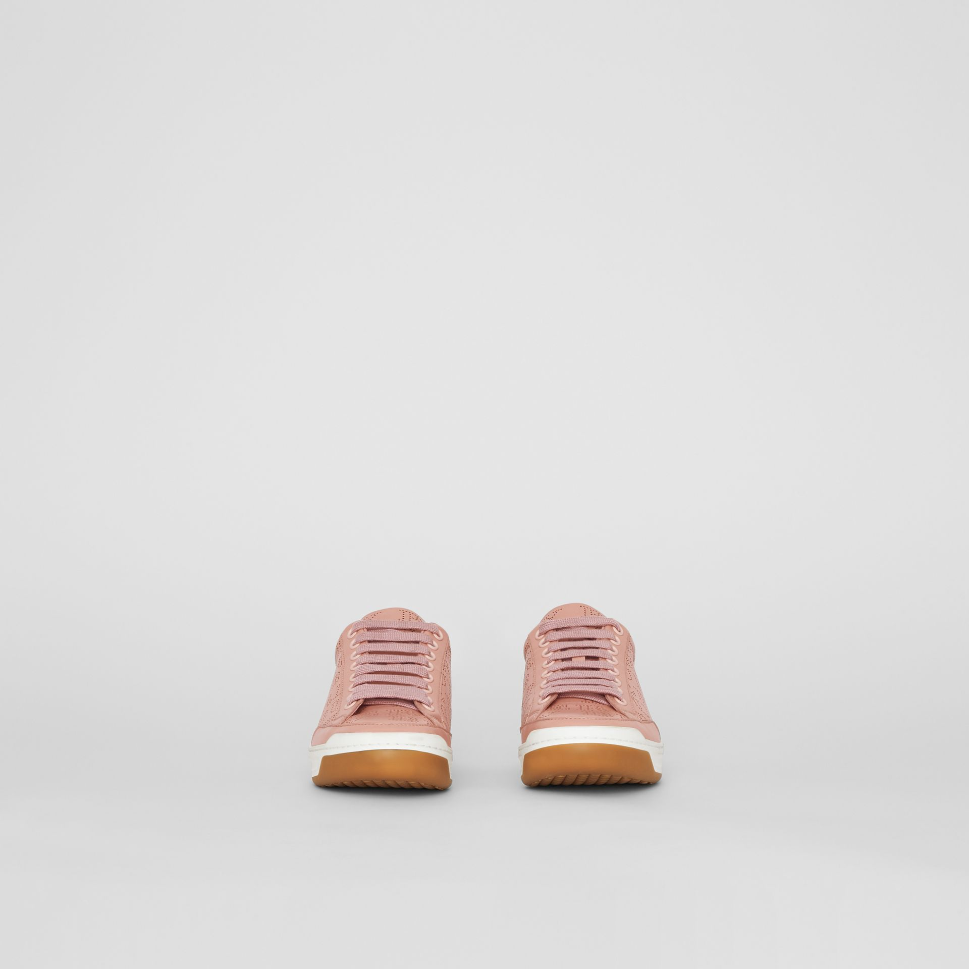 Perforated Logo Leather Sneakers in Pale Fawn Pink - Women | Burberry United Kingdom - gallery image 3