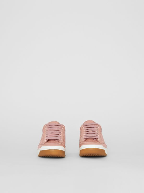 Perforated Logo Leather Sneakers in Pale Fawn Pink - Women | Burberry United Kingdom - cell image 3