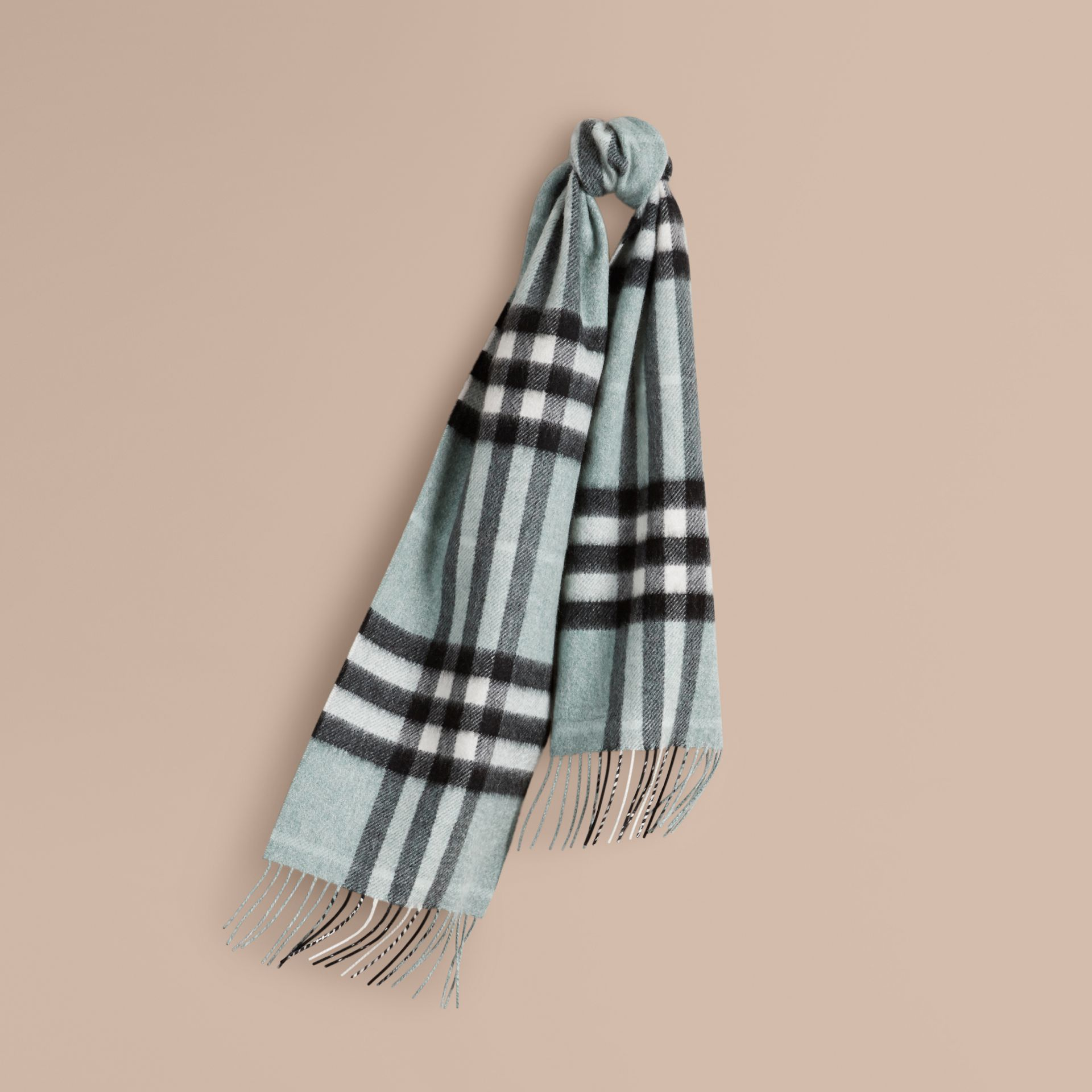 The Mini Classic Cashmere Scarf in Check in Dusty Mint | Burberry - gallery image 4