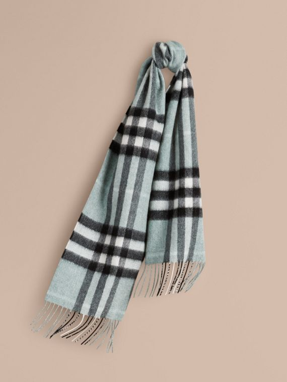 The Mini Classic Cashmere Scarf in Check in Dusty Mint - cell image 3