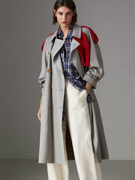針織細節熱帶 Gabardine 風衣 (綠灰色)