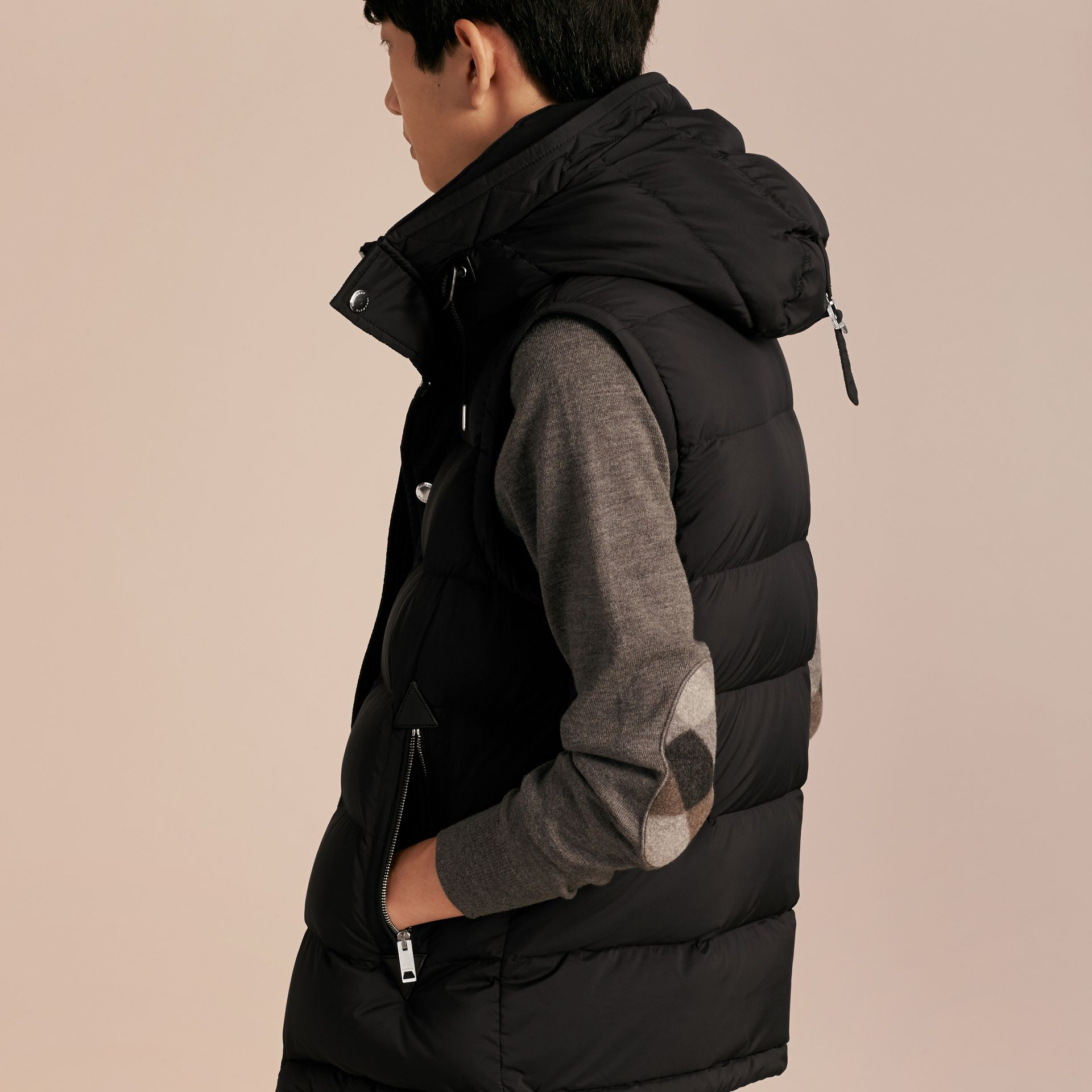 Black Down-filled Hooded Jacket with Detachable Sleeves Black - gallery image 6