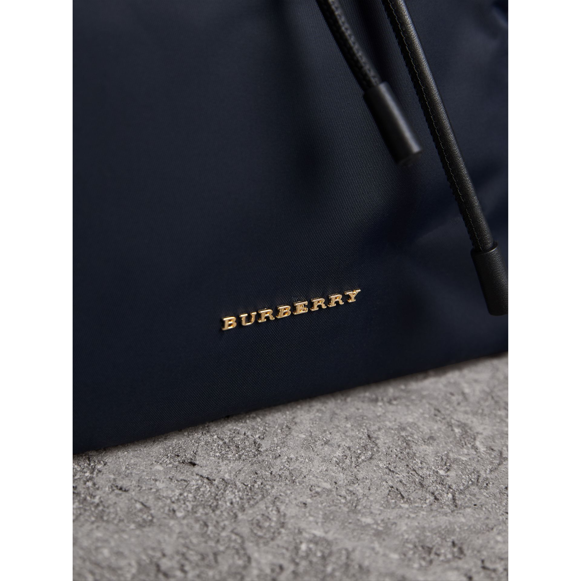 The Medium Rucksack in Technical Nylon and Leather in Ink Blue - Women | Burberry Canada - gallery image 8