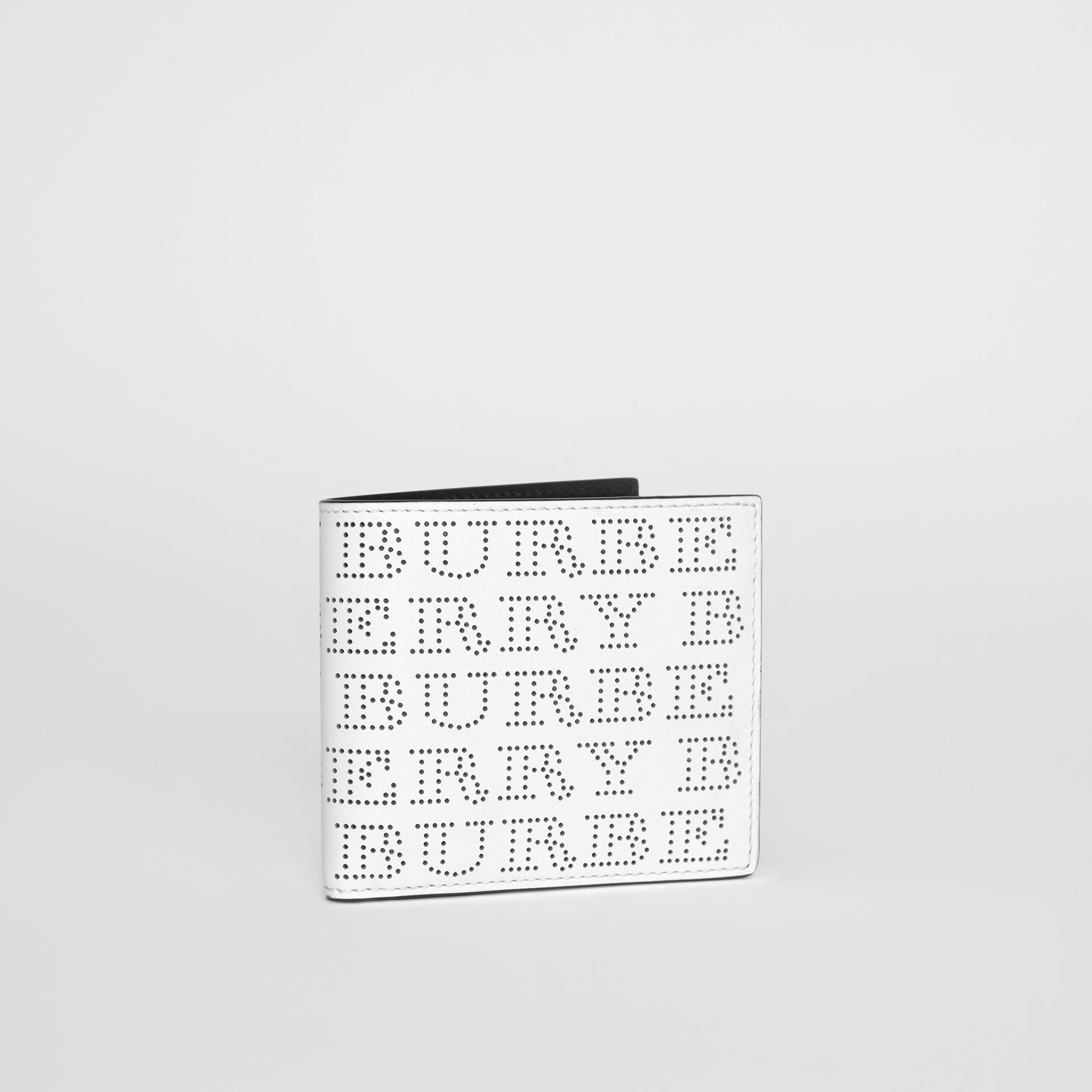 Perforated Logo Leather International Bifold Wallet in Optic White - Men | Burberry Australia - gallery image 2