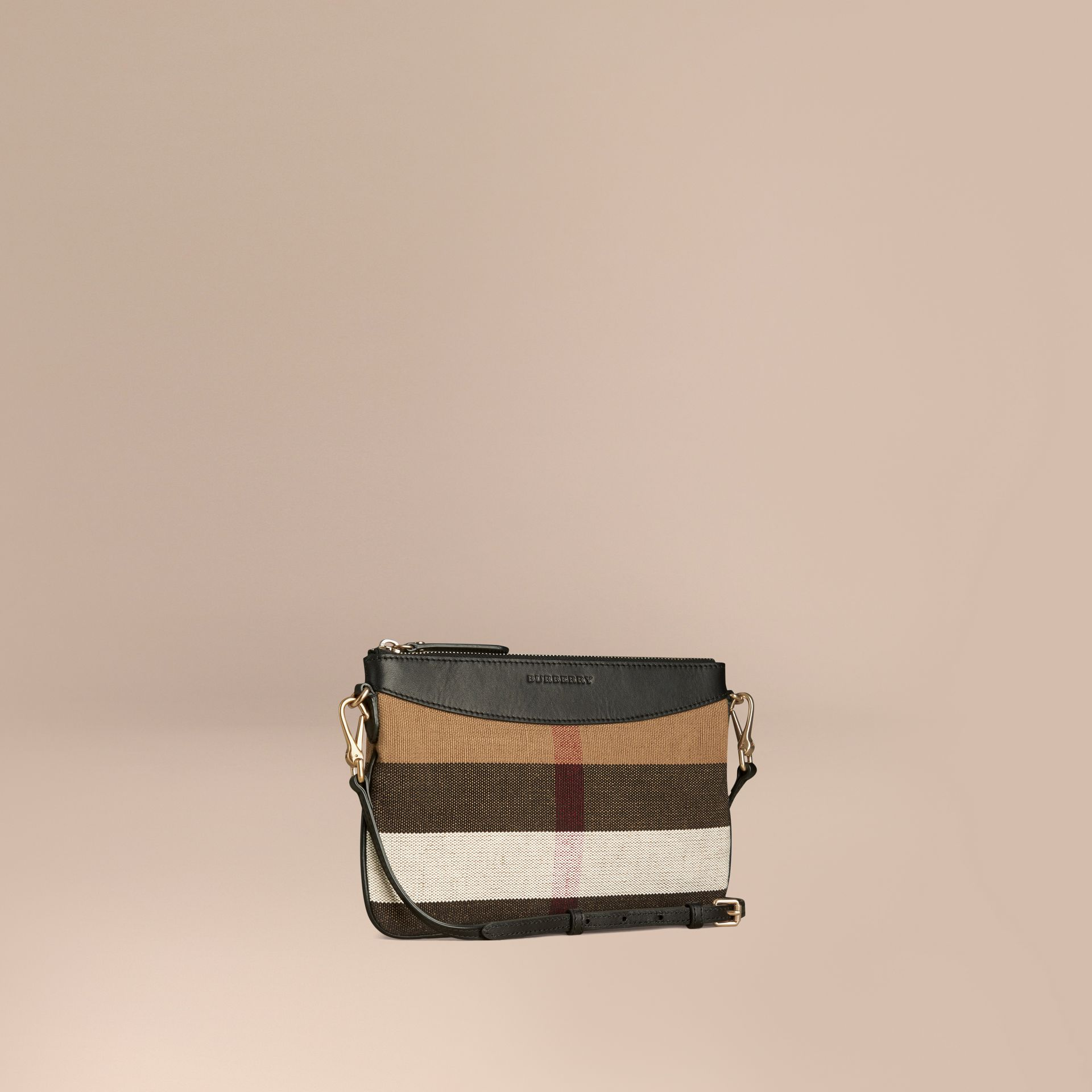 Black Canvas Check and Leather Clutch Bag Black - gallery image 1