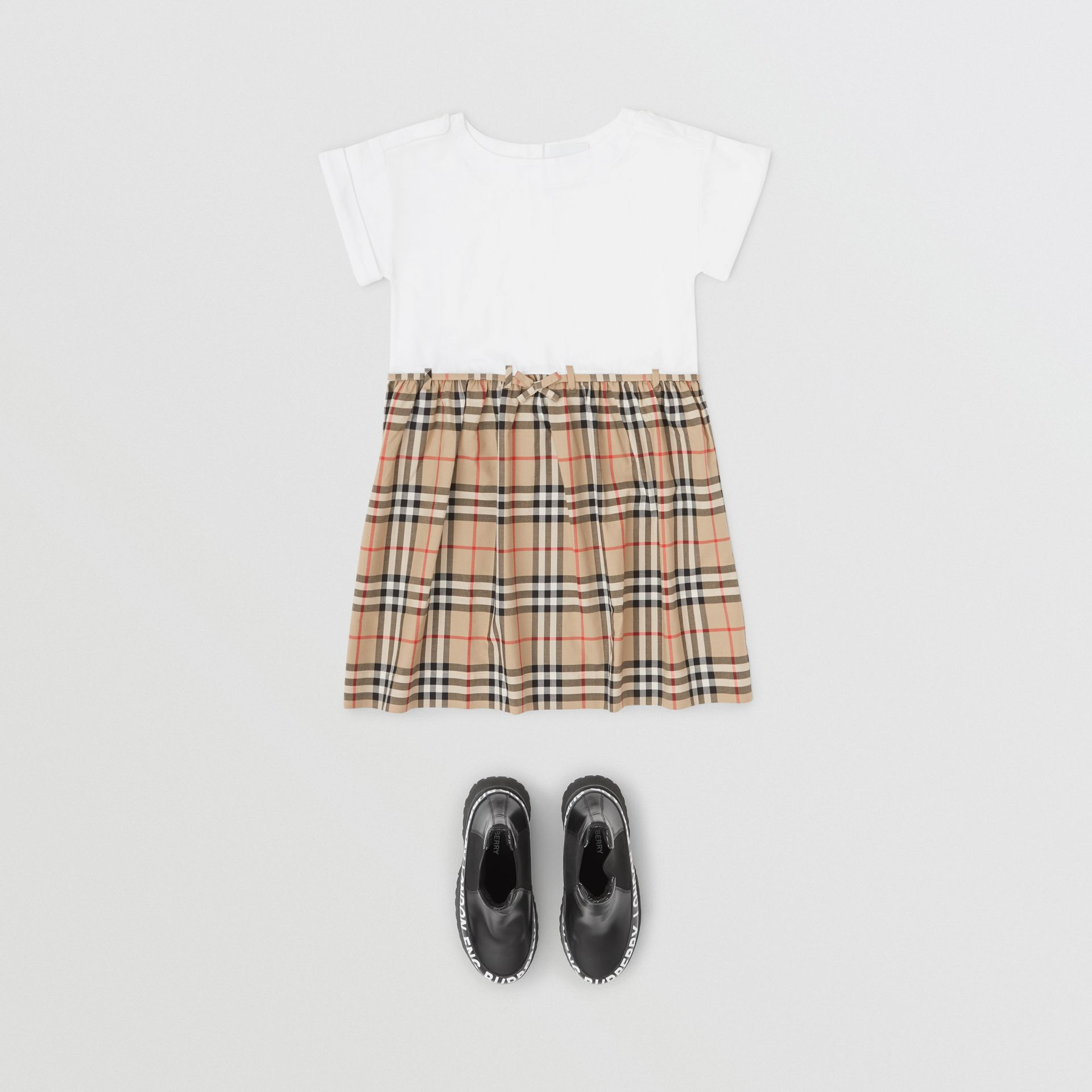 Vintage Check Detail Cotton Dress in White | Burberry - gallery image 2