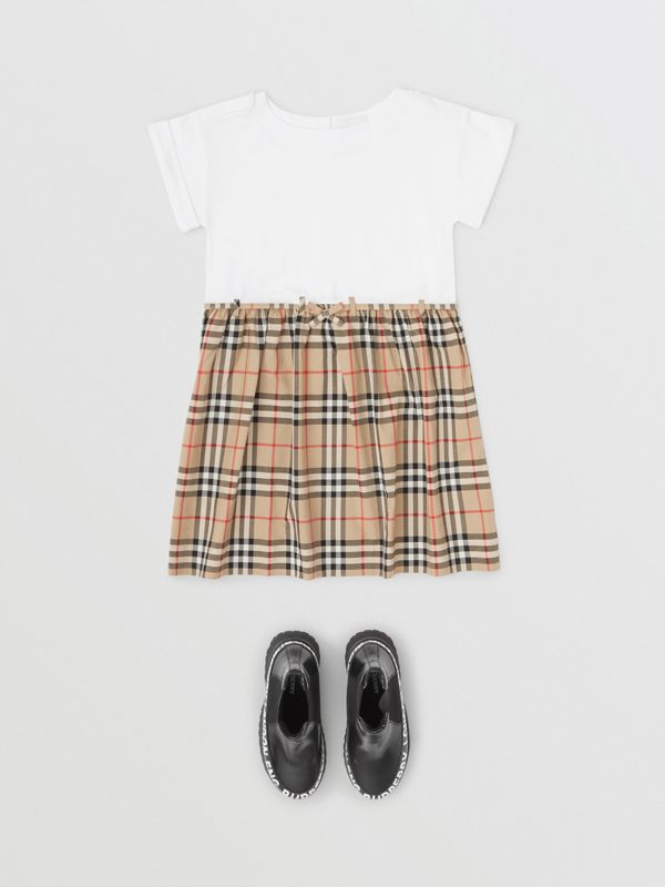 Vintage Check Detail Cotton Dress in White | Burberry Canada - cell image 2