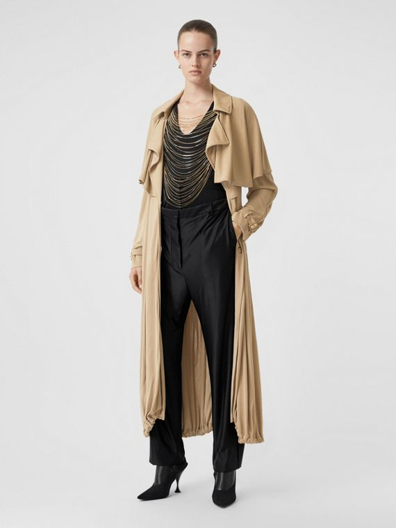 Cape Detail Jersey Trench Coat in Honey