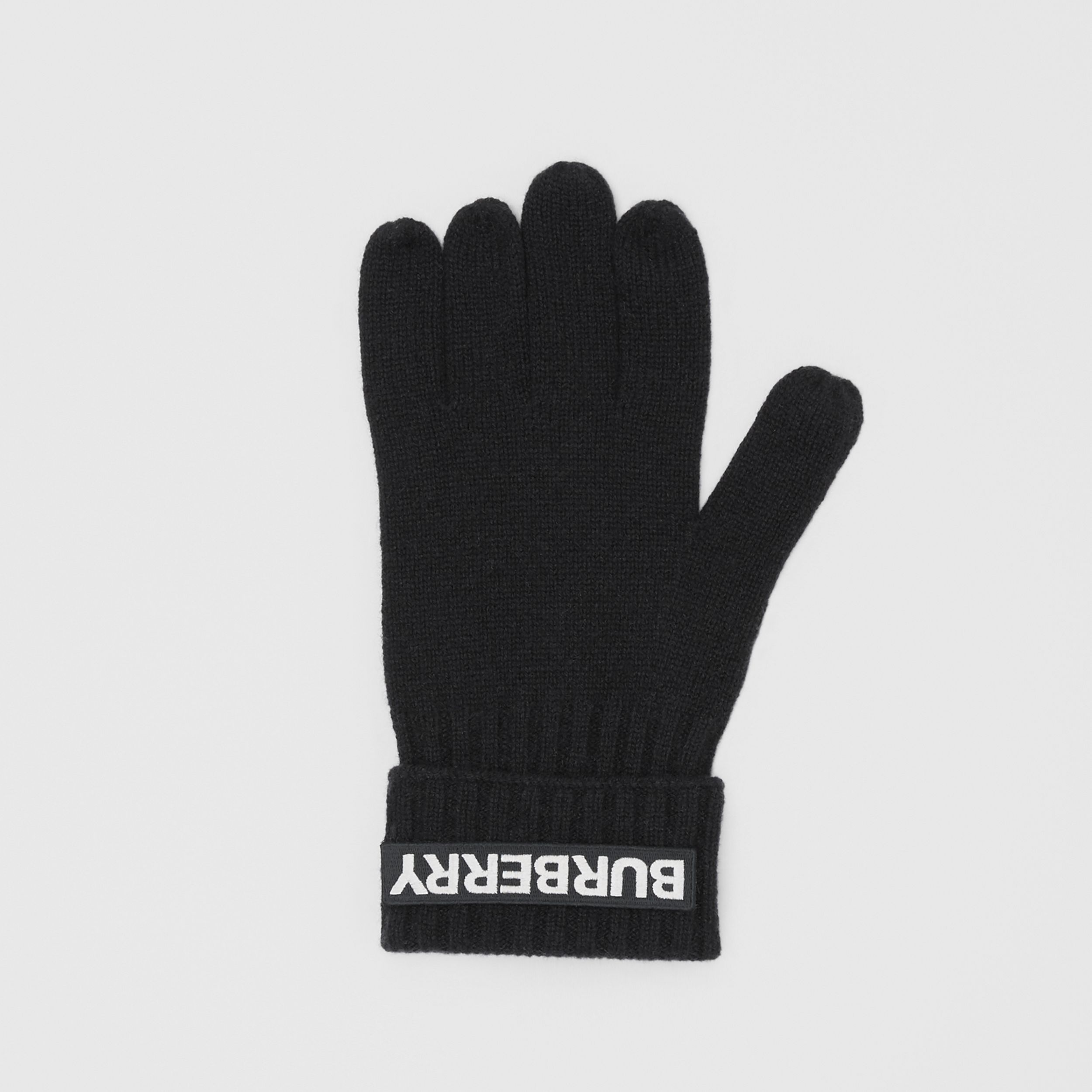 Kingdom and Logo Appliqué Cashmere Gloves in Black | Burberry - 3