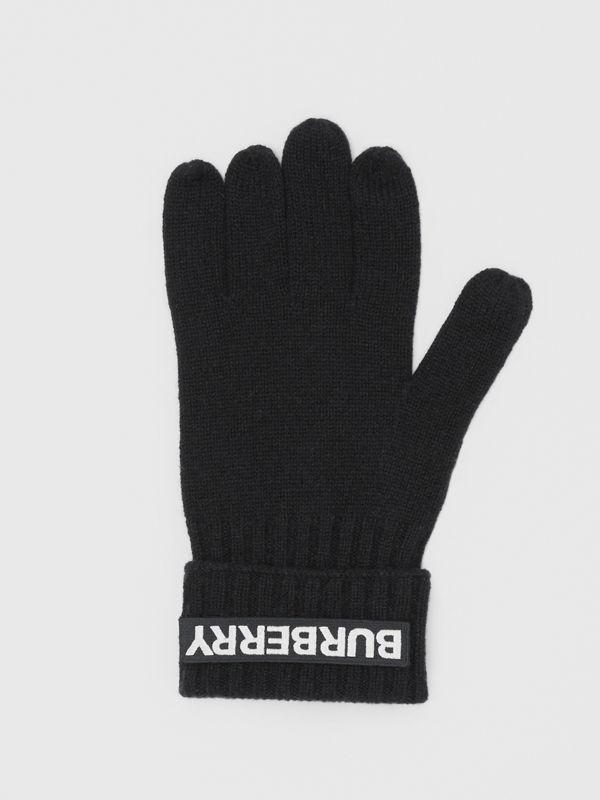 Kingdom and Logo Appliqué Cashmere Gloves in Black | Burberry - cell image 2