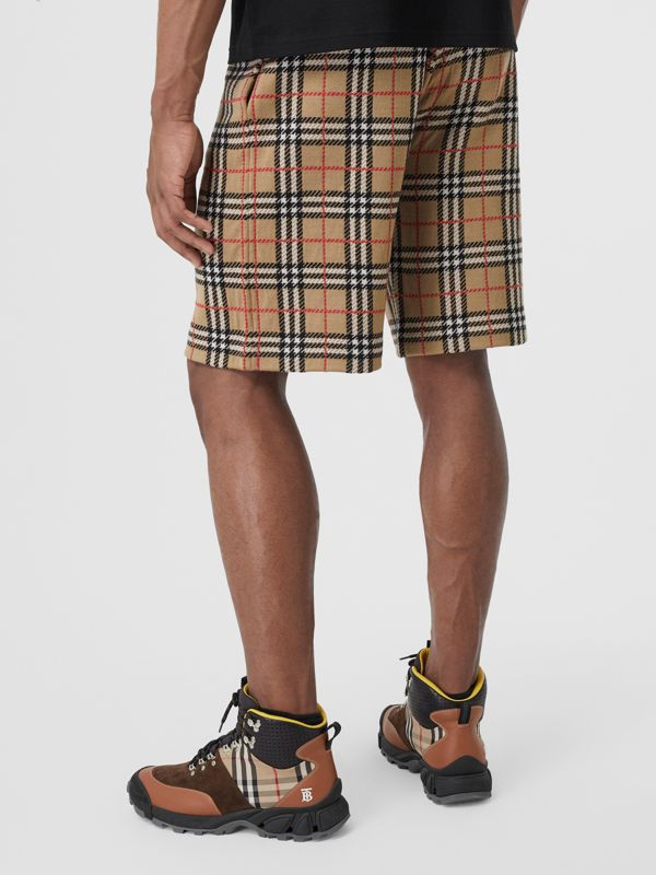 Check Merino Wool Drawcord Shorts in Archive Beige - Men | Burberry Australia - cell image 2