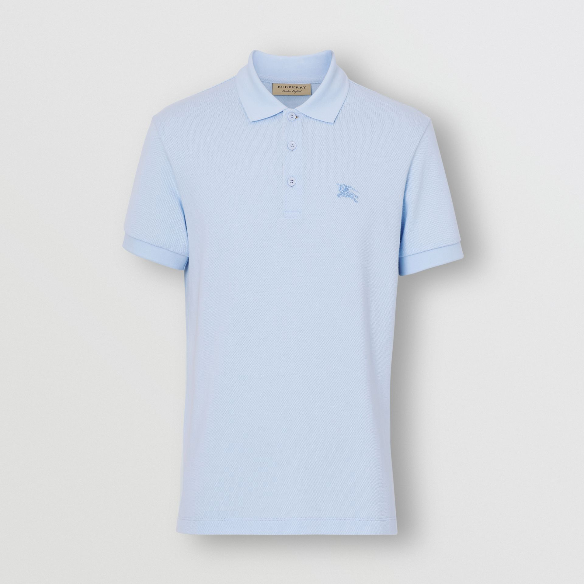 Check Placket Cotton Polo Shirt in Baby Blue - Men | Burberry Hong Kong - gallery image 3