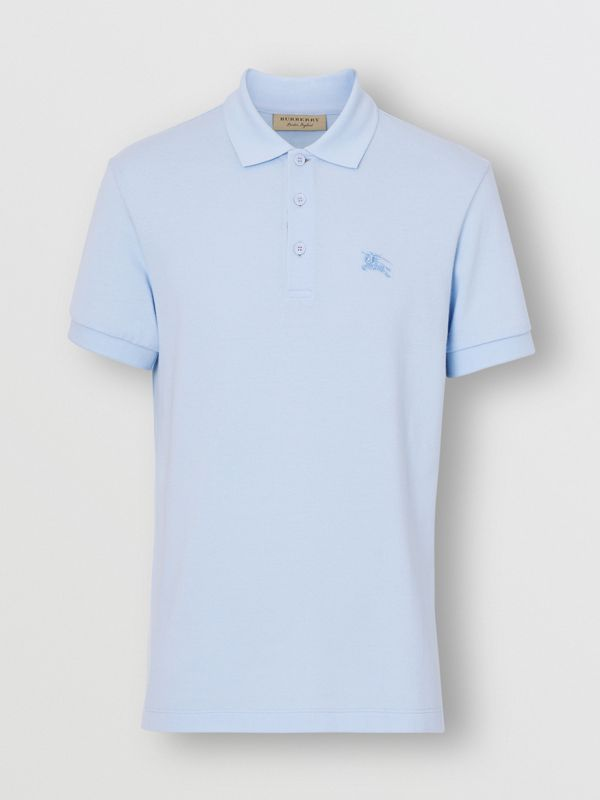 Check Placket Cotton Polo Shirt in Baby Blue - Men | Burberry - cell image 3