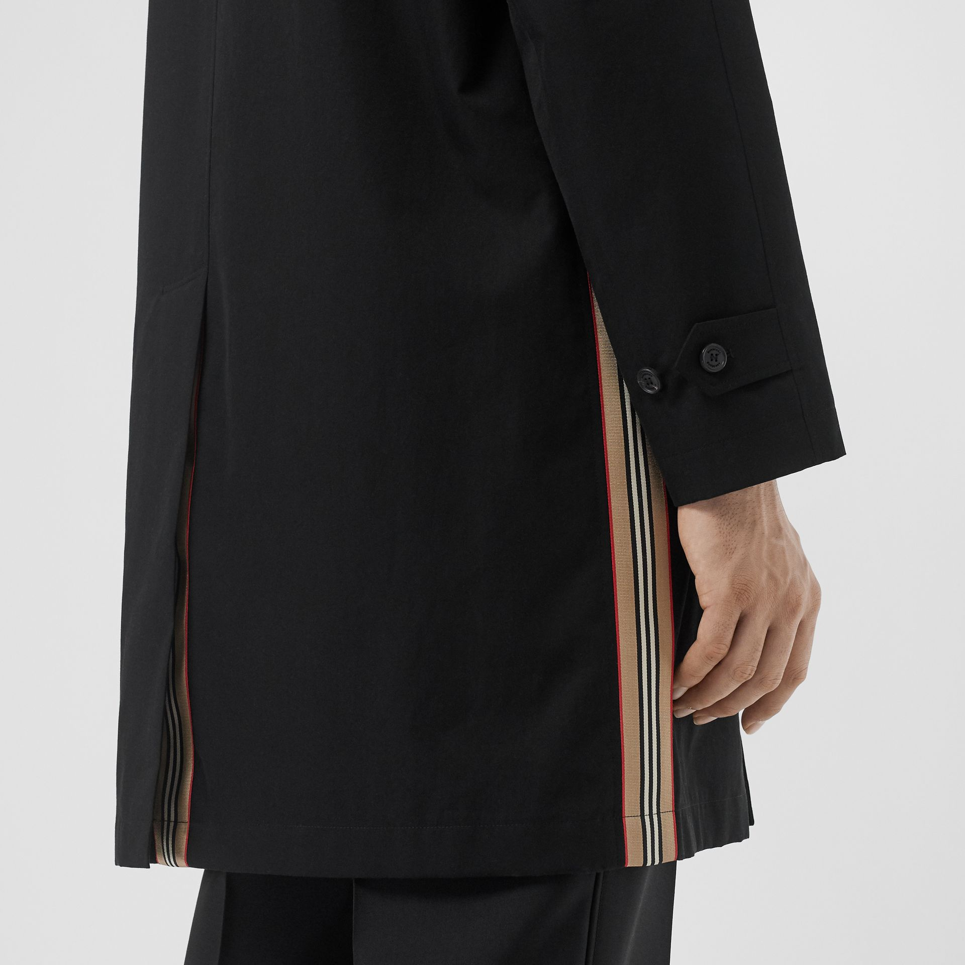 Icon Stripe Detail Tropical Gabardine Car Coat in Black - Men | Burberry - gallery image 6