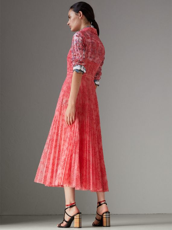 Pleated Lace Dress in Pale Apricot/coral - Women | Burberry Singapore - cell image 2