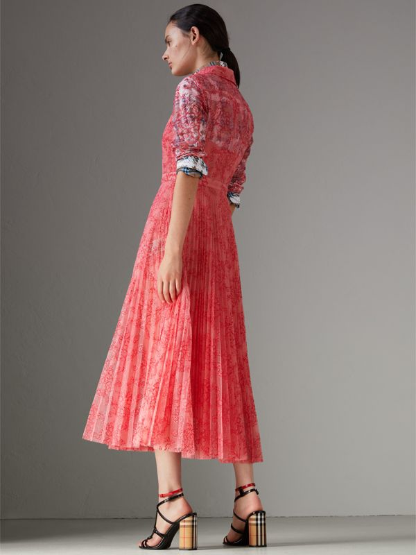 Pleated Lace Dress in Pale Apricot/coral - Women | Burberry - cell image 2