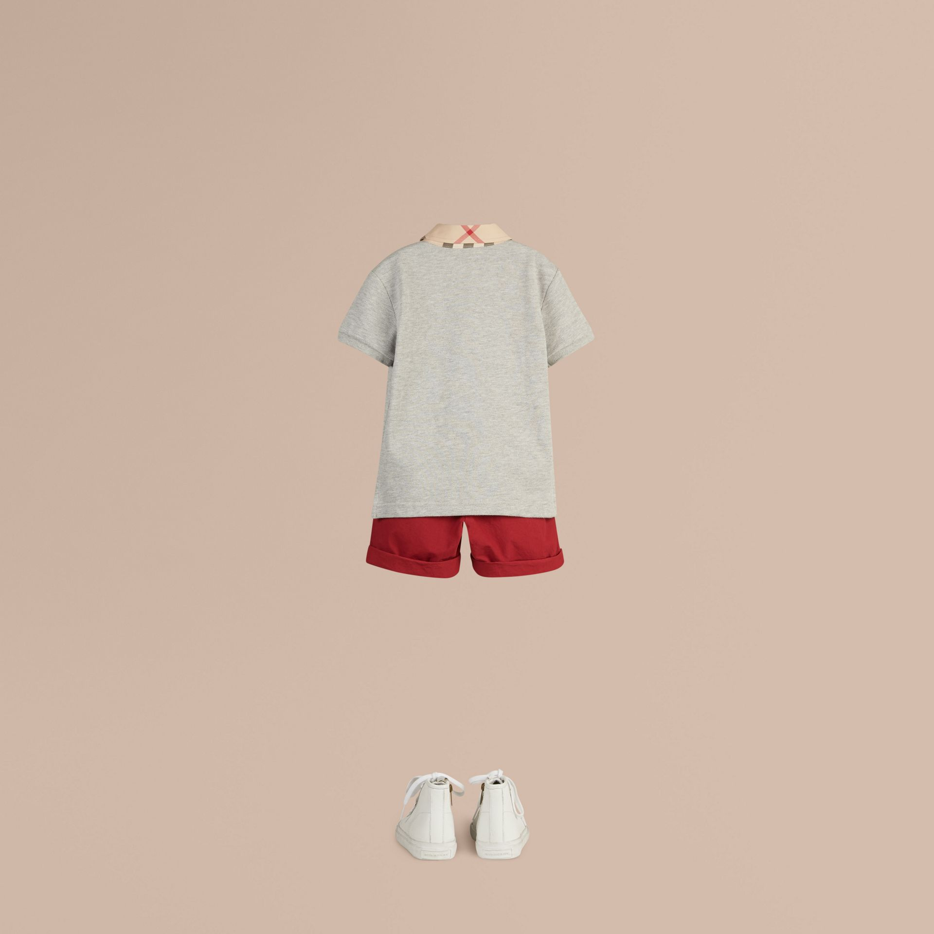 Check Collar Polo Shirt in Pale Grey Melange - Boy | Burberry - gallery image 2