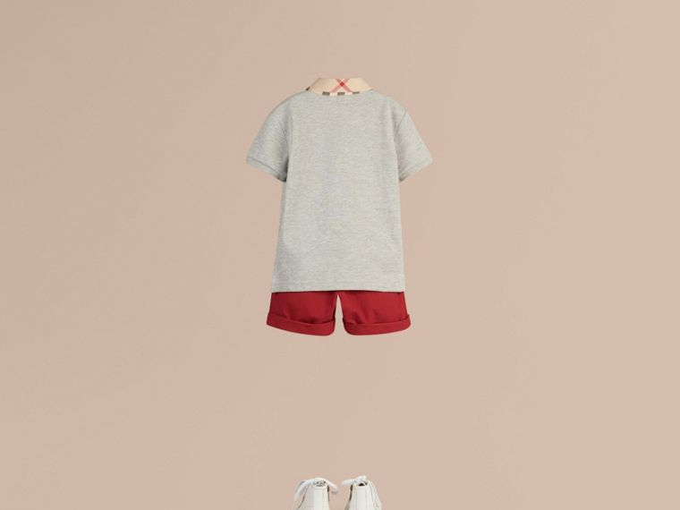 Check Collar Polo Shirt in Pale Grey Melange - Boy | Burberry United Kingdom - cell image 2