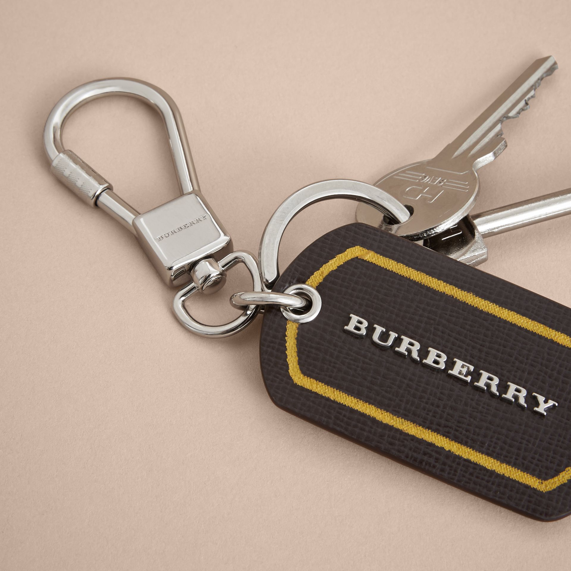 Border Detail London Leather Key Charm - gallery image 4