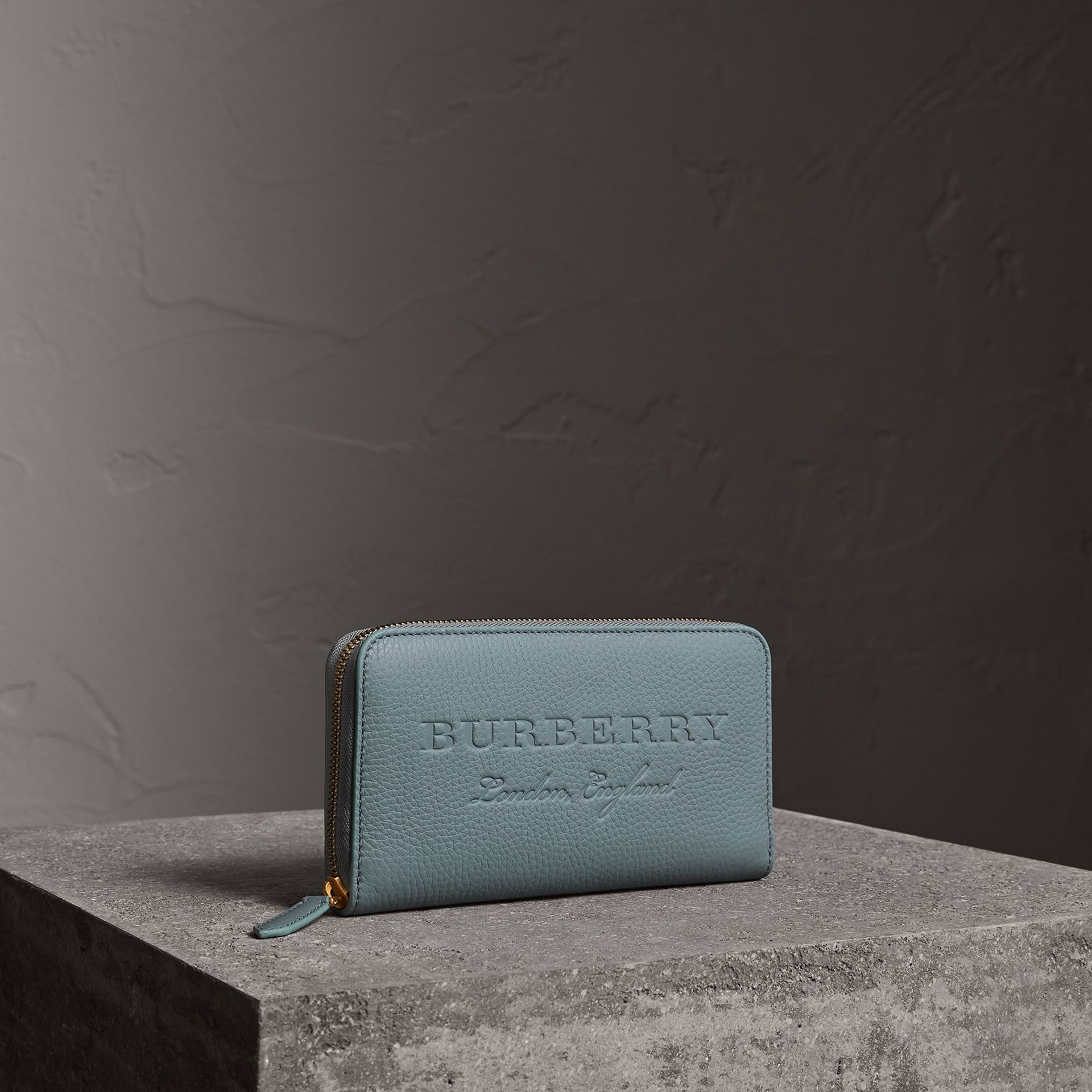 Embossed Leather Ziparound Wallet in Dusty Teal Blue - Women | Burberry - gallery image 0