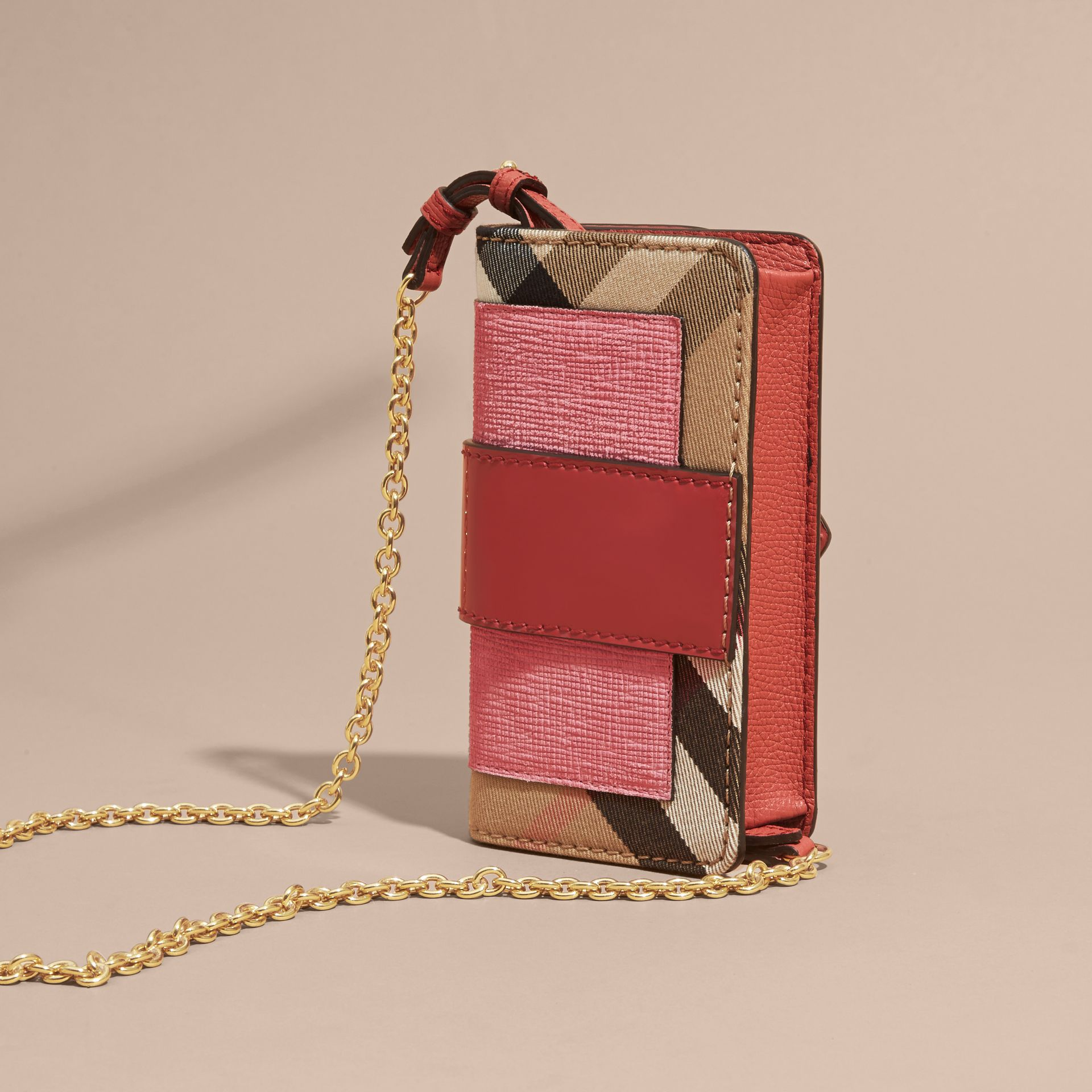 Rose pink The Mini Buckle Bag in Leather and House Check Rose Pink - gallery image 5