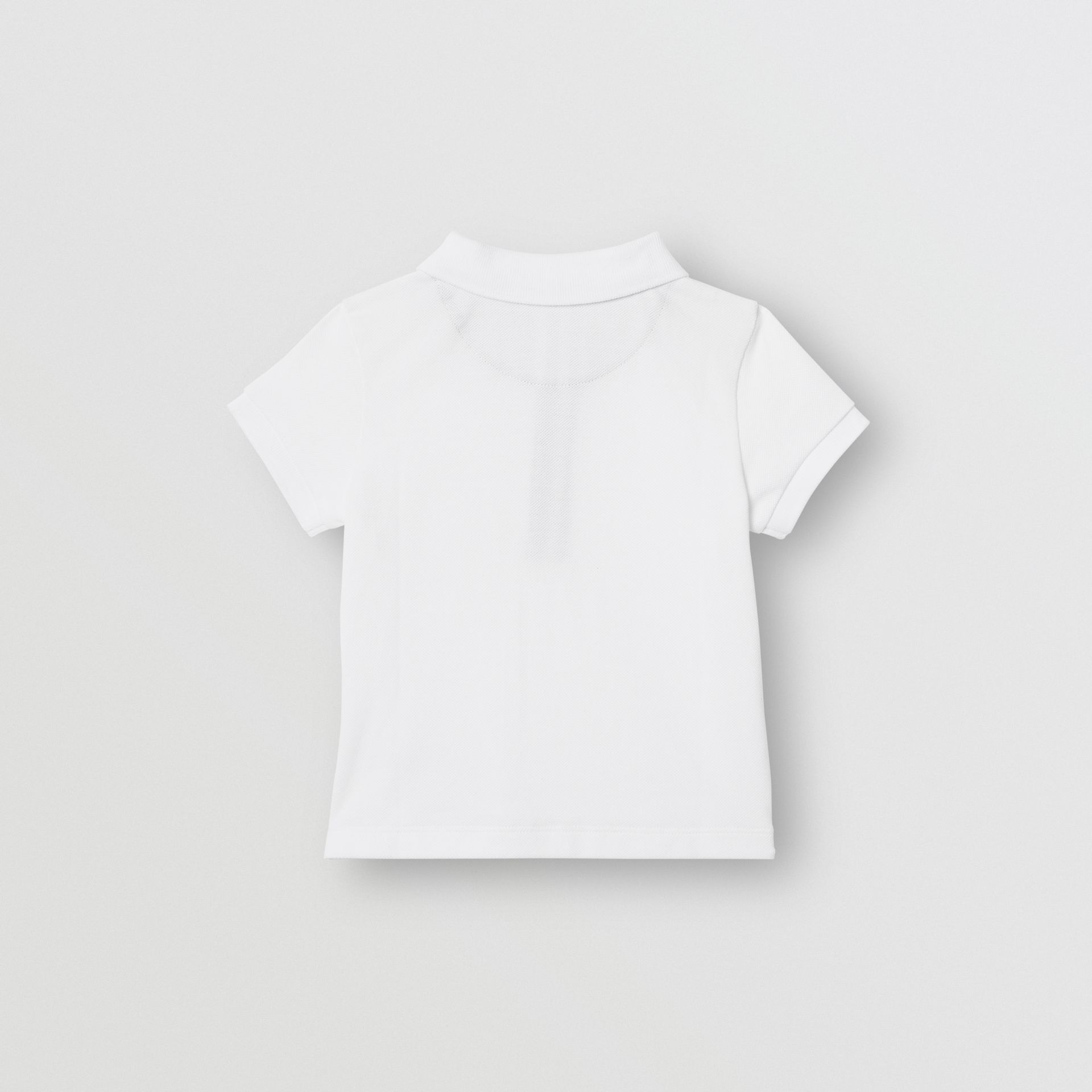 Icon Stripe Placket Cotton Piqué Polo Shirt in White - Children | Burberry Canada - gallery image 3