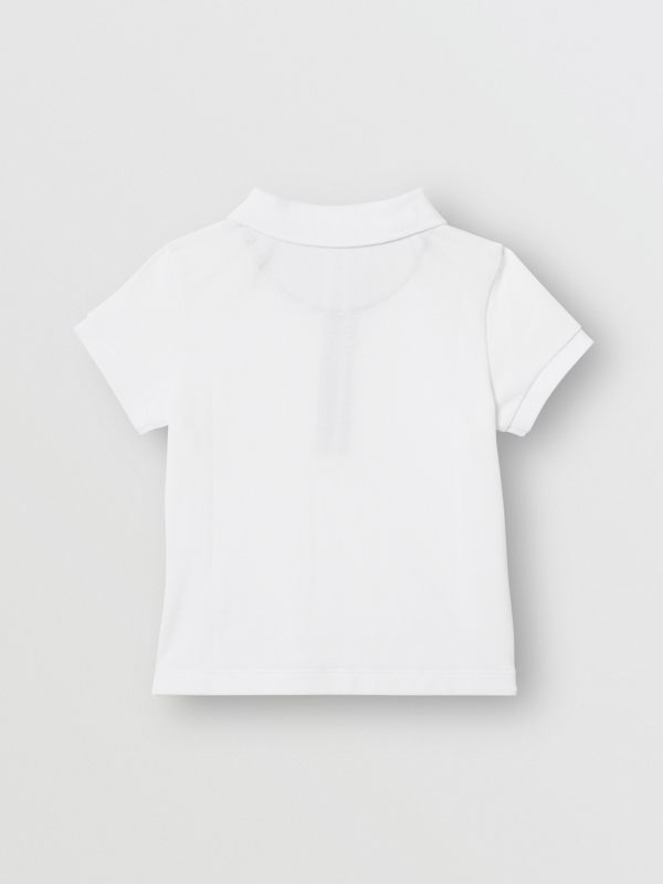 Icon Stripe Placket Cotton Piqué Polo Shirt in White - Children | Burberry Canada - cell image 3